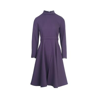 cutting line point flare dress purple